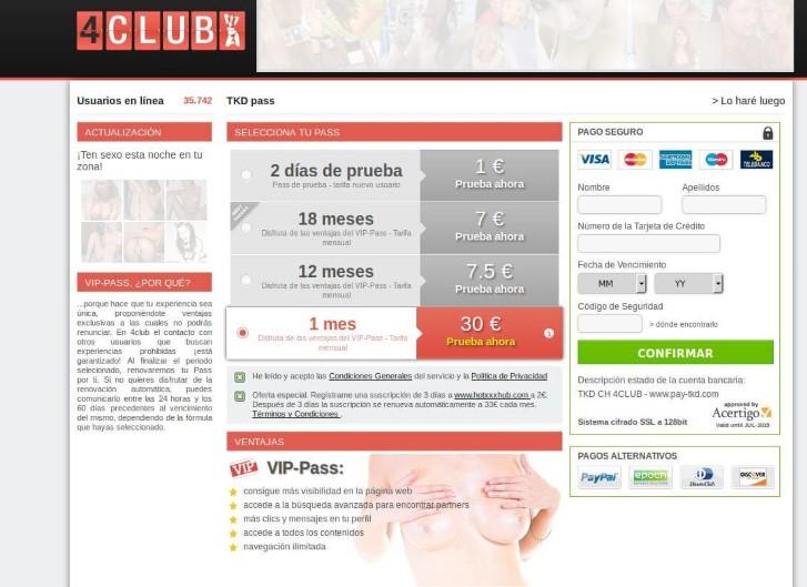 precios en 4club
